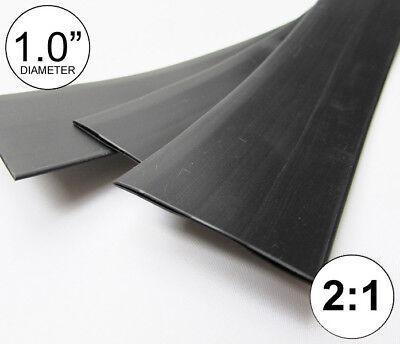1.0 Id Black Heat Shrink Tube 21 Ratio 1 Wrap 3x8 2 Ft Inchfeetto 25mm