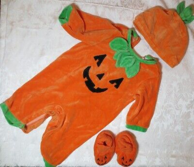 Thanksgiving Halloween Baby COSTUME 3 6 mo Complete PUMPKIN Outfit Plush 80% Cot for sale  Shipping to India