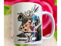 Set of Five Alice in Wonderland Themed Mugs