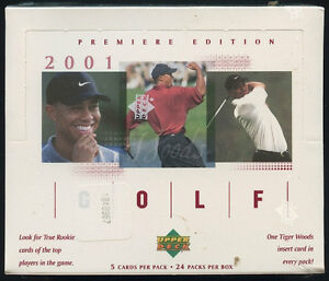 2001 Upper Deck GOLF .... box .... possible TIGER WOODS ROOKIE