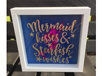 Girls handcrafted mermaid boxed picture