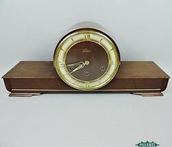 Fine Lauffer Art Deco German Wood Chiming Mantel Clock 1930s