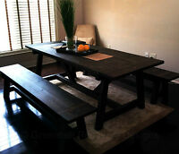 NEW RECOVERY WOOD DINING ROOM TABLE & BENCH SET