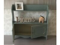 Pretty Painted Wall Shelf with Lockable Cupboard