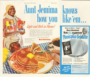 1952 page-and-a-half color magazine ad for Aunt Jemima pancakes