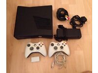 Xbox 360 250gb latest model + leads + 2 official controllers. ALL MINT