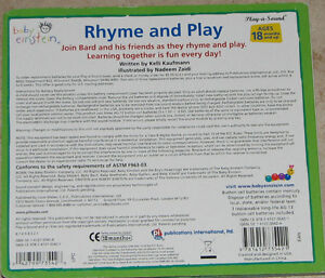 Baby Einstein Rhyme & Play BOARD Book London Ontario image 2