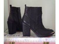 FIRETRAP ladies BOOTS black 6 39 gold studs high heel vgc