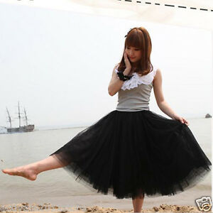Sweet Style Princess Skirt Womens Petticoat Tulle Long Dress Layered Tutu Dress