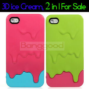 2x-3D-Melt-ice-Cream-Hard-Cover-Case-Skin-for-Apple-iPhone-4-4S-CDMA-4G-AT-T-NEW