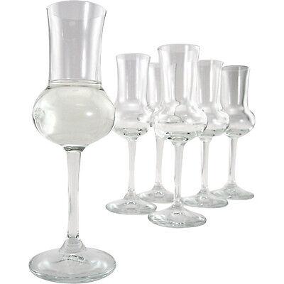 Italian Grappa Glasses – Set Of 6 - 2.75 Oz - Home Bar Glassware - Italy Spirits