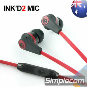 Skullcandy INK'D 2 with MIC Earphones Headphones for Apple iPod iPhone BLK/RED