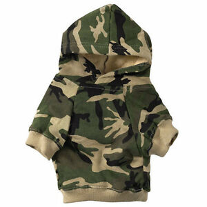 CAMO HOODIE Dog Sweatshirt ALL SIZES Hooded Fleece Sweater Hoody Clothes New