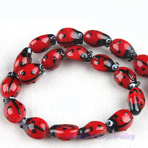 1x-Red-Ladybug-Lampwork-Glass-Beads-Strand-110877