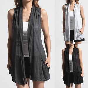 MOGAN-Basic-Simple-Draping-SLEEVELESS-CARDIGAN-Comfy-Cover-Up-VEST-Jacket-Shawl