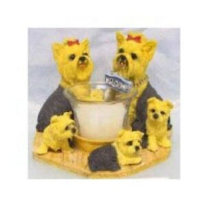 Circle of Yorkshire Terriers, Yorkie family candleholder, Yorky