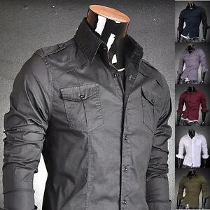 VVW-Mens-Double-Pocket-Designer-Slim-Military-Dress-Shirts-Tops-Fashion-V8001