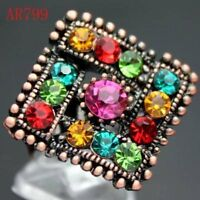 Beautiful Swarovski Crystal Adjustable Ring--multicolor--new!!
