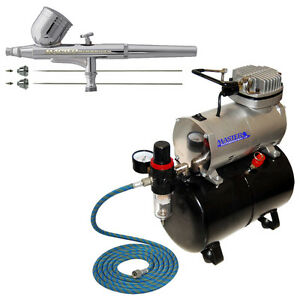 2-3-5-Gravity-Dual-Action-AIRBRUSH-KIT-Tank-Air-Compressor-Hobby-Cake-Tattoo
