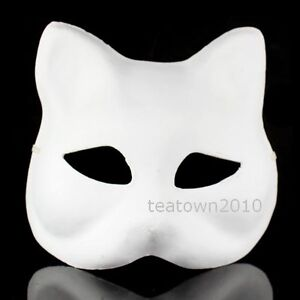 White-unpainted-DIY-plain-blank-version-Pulp-Mask-Cat-Mardi-Gras-Masquerade-HOT