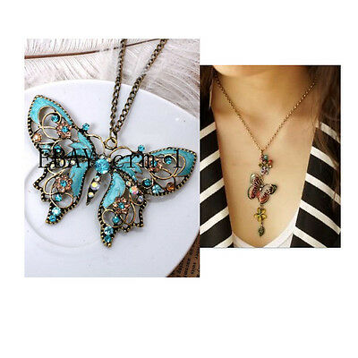 Wholesale sale 2PCS  Blue Butterfly + Exquisite  butterfly necklace  N216 on Rummage