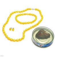 BRAND NEW 3 PIECE YELLOW FRESHWATER PEARL SET *ORILLIA*