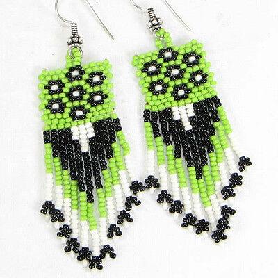 Green Black White Seed Beaded Native American Earrings Handmade