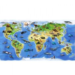 World Atlas Sealife Wildlife Map Panel Cotton Fabric