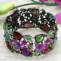Multi VTG Style Resin Crystal Flower Bracelet Cuff---NEW!!