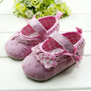 1-NWT-infant-baby-girls-flower-inwrought-pre-walker-Soft-shoes-Mary-Janes-cribs