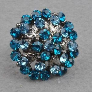 Diamante Elegant Adjustable Cocktail Flower Ring--blue---NEW!!