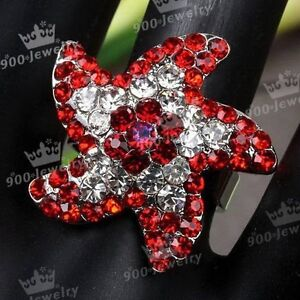 RED CRYSTAL STARFISH COCKTAIL RING ADJUSTABLE--NEW!!
