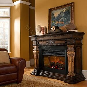 Granite-Two-Toned-Electric-Fireplace-Carvings-Remote
