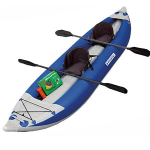 Rugged-Blue-Maxxon-MK1205-Self-Bailing-2-Man-Whitewater-Inflatable-Kayak-System