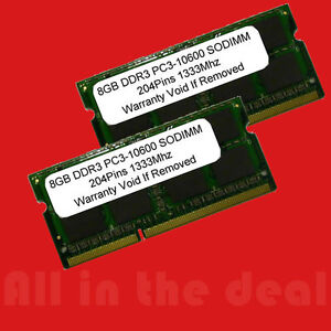16GB 2 X 8GB DDR3 SODIMM 204PIN 1333MHz PC3-10600 LAPTOP Apple HP IBM 1333 16 GB