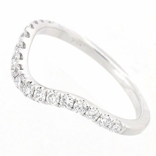 Curved Wedding Bands: Womens Curved Wedding Band White Gold