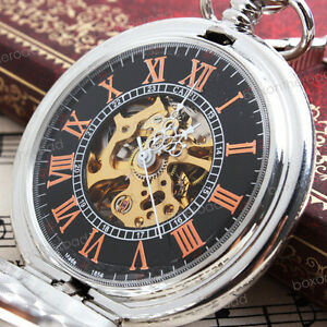 NEW-Vintage-Classic-Mens-Silver-Roman-Auto-Mechanical-Wind-up-Pocket-Watch