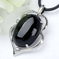 18X25mm Black Agate Gemstone Oval Pendant--NEW!