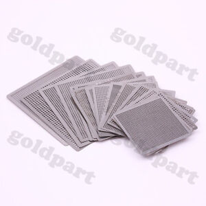 19pcs Directly Heat Rework BGA  Reball Reballing Universal Stencil Template Set