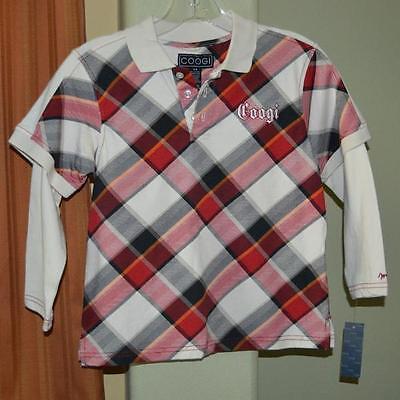 Coogi Long Sleeve Black Red White Plaid 100% Cotton Shirt Youth Boys 5/6 $50