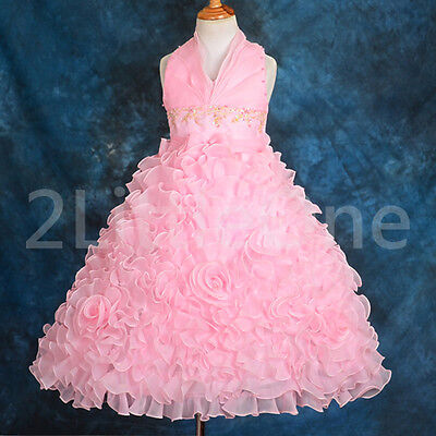 Embossed Flower Girl Halter Dress Wedding Pageant Party Size 2T-10 148 on Rummage