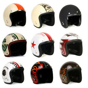 Variety-of-Vintage-Motorcycle-Scooter-Fashion-Bike-Jet-Helmet-With-Shield