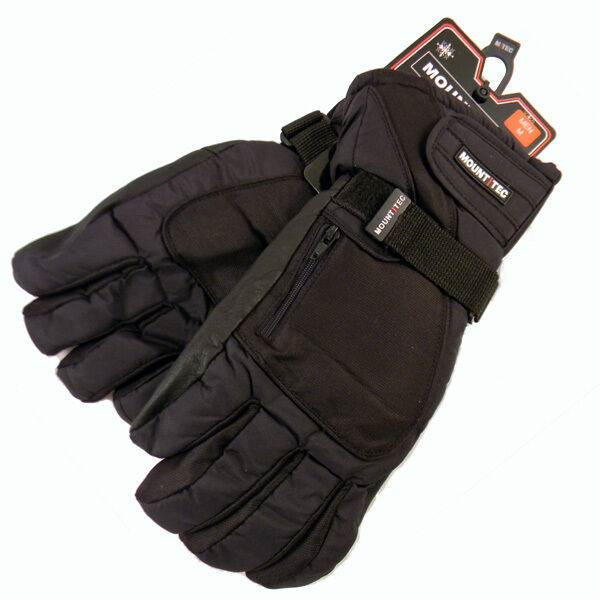 Mount Tec Men's Black Ski Gloves Drypel Waterproof Insert Leather Fingers M2888
