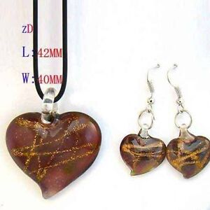 Lampwork Glass Love Heart Bead Necklace Earrings set-NEW!!