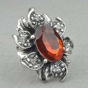 Cute Topaz Tibet Silver Diamante Cocktail Ring---NEW!!