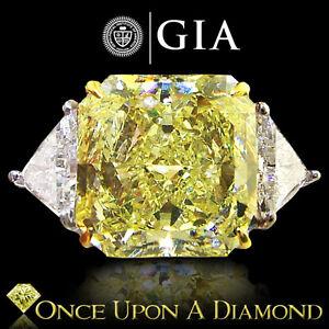 GIA-Cert-Platinum-18K-8-74ctw-VVS2-Fancy-Yellow-Canary-Diamond-Engagement-Ring