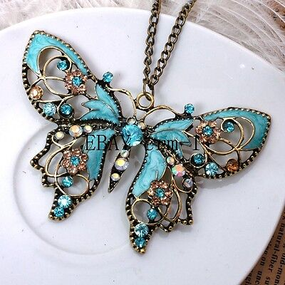 European Crystal Sky blue butterfly Necklace Pendant Women Gift  7.7cmx5cm on Rummage