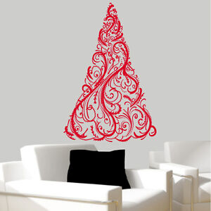 sticker mural sapin de no l choix taille et couleur ebay. Black Bedroom Furniture Sets. Home Design Ideas