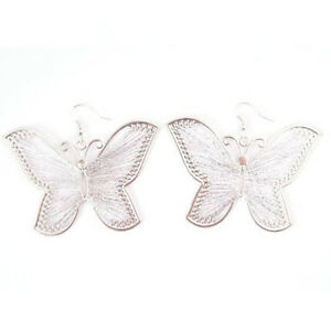 Silver, Sparkly Butterfly Silk Thread Earrings-NEW!