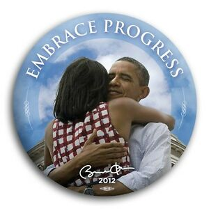 Embrace Progress Barack Michelle Obama 2012 President Button Victory Democrat 3